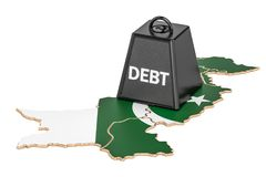 Pakistani national debt or budget deficit, financial crisis conc. Ept, 3D Royalty Free Stock Photography