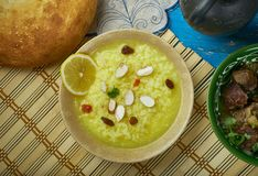 Pakistani Palatable Kheer. Pakistani cuisine , Palatable Kheer, condensed milk sugar and rice, Indian version of rice pudding . Traditional assorted dishes, Top stock photography