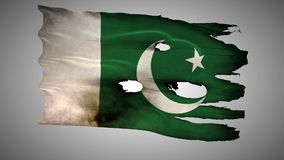 Pakistani perforated, burned, grunge waving flag loop alpha stock video footage