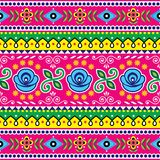 Pakistani seamless vector pattern, Indian truck art design, navy blue and pink ornament with flowers and abstract shapes. Colorful repetitive Diwali background Stock Illustration