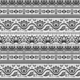 Pakistani truck art vector seamless pattern, Indian truck floral black and white design with lotus flower, leaves and abstract sh Stock Images