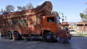 Pakistani truck on road stock image