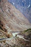 Pakistani trucks on a mountain road Royalty Free Stock Image