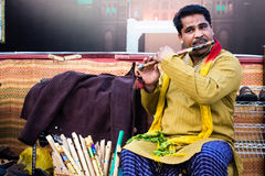Pakistanischer Flötenspieler Stockfotos