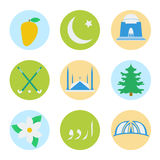 Pakistanska nationella symboler stock illustrationer