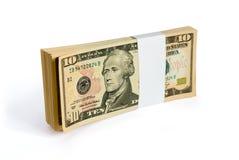 Pakje van 10 dollarsbankbiljetten Royalty-vrije Stock Foto's