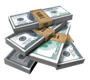 Pakjes van Amerikaanse dollars (op wit worden geïsoleerd dat) Royalty-vrije Stock Foto