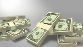 Pakjes van dollarrekeningen die met masker vallen stock footage