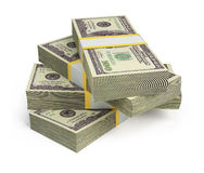 Pakjes van dollars Stock Foto's