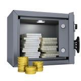 Pakjes van geld en muntstukken in een brandkast Royalty-vrije Stock Afbeeldingen