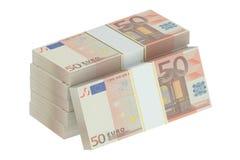 Pakken van 50 euro Stock Afbeeldingen