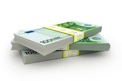 Pakket drie van 100 Euro nota's Stock Foto