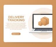 Pakket het volgen website op laptop het scherm Het online pakket volgen Modern concept Vector illustratie stock foto