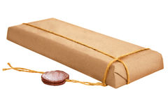 Pakket met oude wasverbinding Royalty-vrije Stock Foto