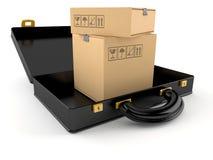 Pakketten binnen open aktentas stock illustratie