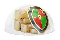 Pakketten door glaskoepel die worden behandeld De verzekering van de vrachtlading en prote vector illustratie