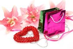 Pakketten en hart Stock Foto's
