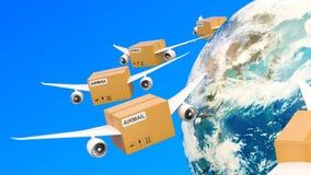 Pakketten met vleugels die in de hemel rond Aardebol vliegen Globaal het verschepen en leveringsconcept, het 3D teruggeven royalty-vrije illustratie