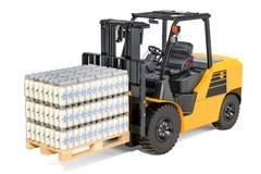 Pakketten van de flessen van de glasmelk in krimpfolie op de vorkheftruck RT vector illustratie