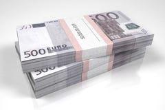 Pakketten van 500 Euro rekeningen stock illustratie