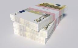Pakketten van 200 Euro rekeningen Stock Foto