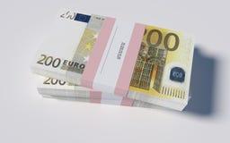 Pakketten van 200 Euro rekeningen Royalty-vrije Stock Fotografie