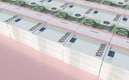 Pakketten van 100 Euro rekeningen Stock Afbeeldingen