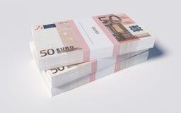 Pakketten van 50 Euro rekeningen Stock Foto's