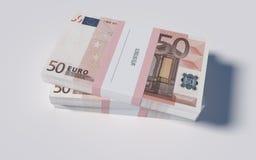 Pakketten van 50 Euro rekeningen Royalty-vrije Stock Foto's