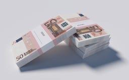 Pakketten van 50 Euro rekeningen Stock Foto