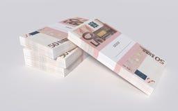 Pakketten van 50 Euro rekeningen Stock Afbeeldingen