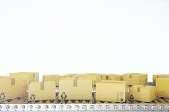 Pakkettenlevering, de verpakkend dienst en het systeemconcept van het pakkettenvervoer, kartondozen op 3d transportband, Royalty-vrije Stock Foto