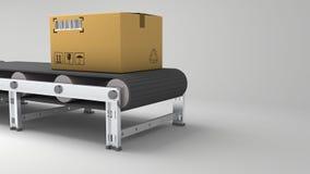 Pakkettenlevering, de verpakkend dienst en het systeemconcept van het pakkettenvervoer, kartondozen op transportband in 3d pakhui Stock Foto