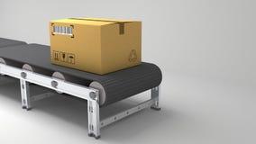 Pakkettenlevering, de verpakkend dienst en het systeemconcept van het pakkettenvervoer, kartondozen op transportband in 3d pakhui Royalty-vrije Stock Afbeelding