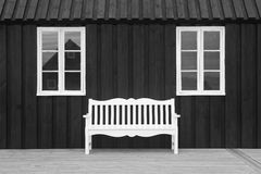 Pakkhusid black wooden warehouse. Iceland. Hofsos. royalty free stock photography