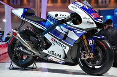 Yamaha M1 YZR dat in Bangkok Internationale Motorshow wordt voorgesteld Stock Foto's