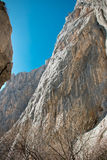 Paklenica national park canyon vertical cliffs Royalty Free Stock Photo