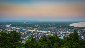 Paknam Chumphon Village Chumphon, Thailand. Chumphon, view, tourist, thailand, attraction, river, aerial, province, nature, high, scenery, natural, travel Royalty Free Stock Photography