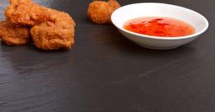 Pakora n chili sauce Royalty Free Stock Images