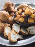 Pakoras- Mushroom and Cauliflower with Mango Musta royalty free stock image