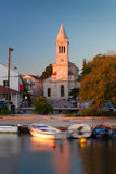 Pakostane church at sunset, Croatia Stock Photos