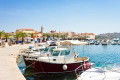 Pakostane, Croatia - Harbor and old town of Pakostane royalty free stock images