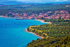 Pakostane town and bay aerial view Stock Photography