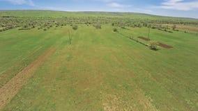 Pakovo Selo land aerial. Copter aerial view of the Pakovo Selo arable land in summer day, near Sibenik Croatia stock footage