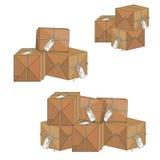 Pakować pudełka z prezent etykietką Obrazy Royalty Free
