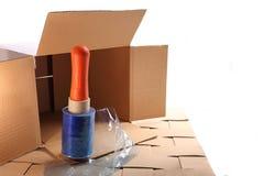 Pakować rzeczy w pudełkach dla transportu Zdjęcia Stock
