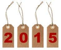 Pakpapiermarkering met koord Nieuw jaar 2015 Royalty-vrije Stock Afbeeldingen