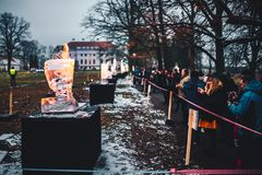 Ice sculpture festival. PAKRUOJIS, LITHUANIA - FEBRUARY 03, 2018:  Ice sculpture festival in Pakruojis Manor. Night time Stock Image