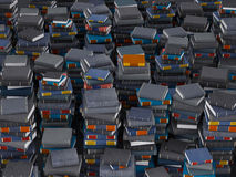 Paks of books. Many paks books, stacked in columns stock photography