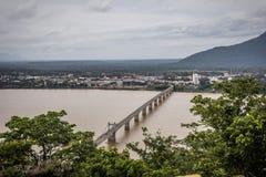 Pakse bro i Champasak, Laos Arkivfoton